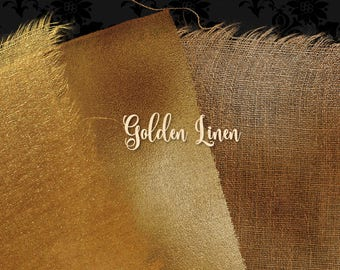 Gold Linen Overlays, linen texture clipart, digital photography overlays, jute cloth digital paper, burlap textures, torn edges download