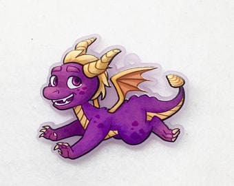 Spyro dragon acrylic charm keychain with frosted purple acrylic
