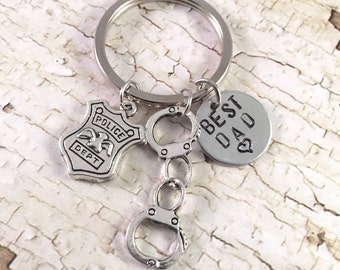 Police Badge keychain, Police officer keychain, handcuff, Police charm, Badge, police officer gift, retirement gift, Father's Day Gift, Dad