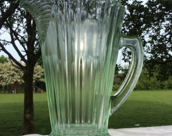 Art Deco Green Glass, Water Jug, Pitcher. Large, Heavy, Vintage Jug. Mint Green Tinted Glass. Pressed Glass. Lemonade Pitcher. 1930s