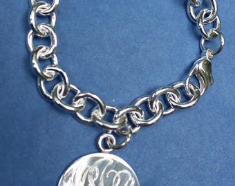 Hand engraved  sterling silver charm bracelet