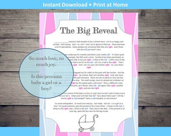 Gender Reveal Pass the Present Baby Shower Game Instant Download