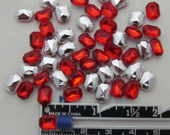 "Red Rectangular Acrylic Gems .23"" x .31"" 6mm x 8mm non-sew glue in faceted back - 50 total"