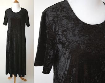 90s Black Crushed Velvet Short Sleeve Dress - Stretchy Full Length Velvet Dress - Size Large