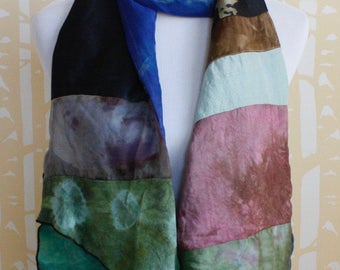 Decadent Double Layered Silk Collage Scarf in bright blue and black multi, one of a kind