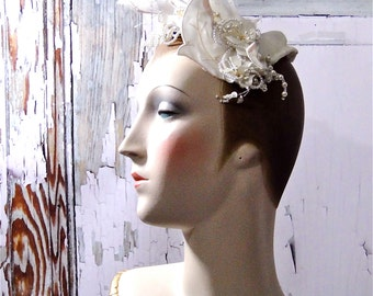 Wedding Headpiece Blush Satin Pearls Beaded Embellishments Vintage Bride 1980's Bridal Accessories