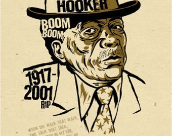 "John Lee Hooker Poster- signed by Grego - digital - blues folk art - big 12""x18"" - mojohand.com"
