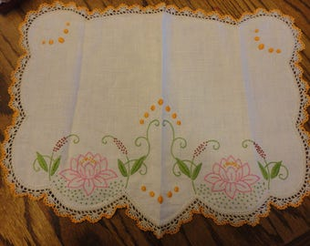 Vintage dresser scarf with pink  water lily