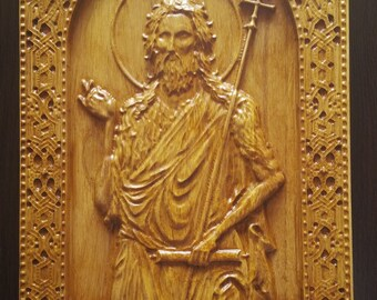 St. John the Baptist Orthodox Wood Carved Religious Icon