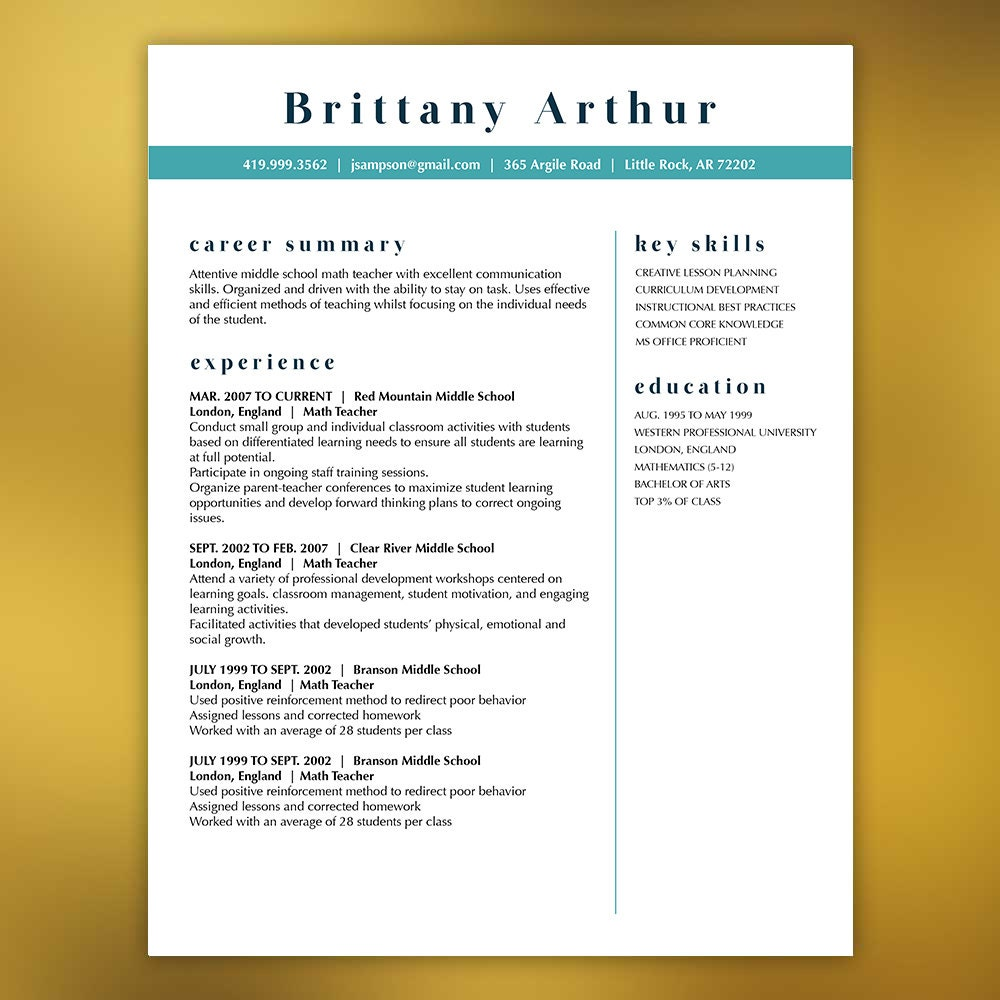 Beste Lehrer Lebenslauf Vorlage Etsy Ideen - Entry Level Resume ...