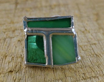 Turquoise stained glass ring