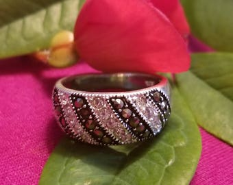 Sterling Silver Ring with CZ and Marcasite Accents (st - 2047)
