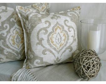 Pillow, Linen pillow, designer pillow cover, Paisley pillow, beach pillow, 18x18 pillow cover, beach decor, beach House pillow, gold ivory