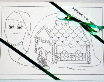 Set of 6 Christmas Cards to Color - Set # 2 - cards to color, children's cards, holiday cards, blank cards