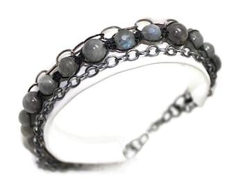 NEW! Unisex sterling silver bracelet, Labradorite, adjustable, knotted, rustic, rocker, boho, for him, gift, rustic, rocker, Free shipping