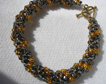 Bracelet - Twisted Rope - Glass Bead - Halloween - Gunmetal/Orange