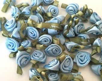 20, blue ribbon roses, satin ribbon roses, blue satin roses, sew on flowers, small ribbon roses, blue ribbon flowers, flower appliques