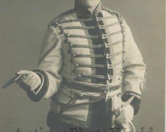 Russian actor Sabinin as hussar smoking cigarette antique rppc photo