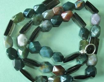 Gemstone Jewelry Necklace - Smoky Quartz and Fancy Jasper Gemstone Beaded Necklace