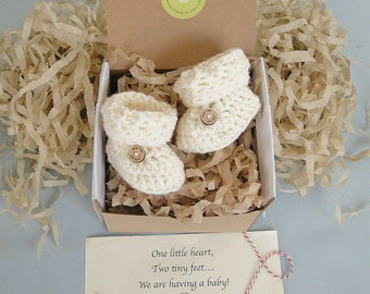Pregnancy Announcement to Grandparents, Baby Reveal,  Announcement, BOOTIES IN A BOX® Ribbed Fold Down Cuff, Wood Button Option