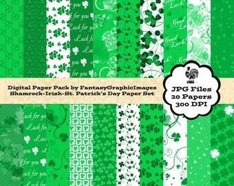 St Patrick's Day Scrapbook Paper Digital Pack Irish Shamrock 20 Paper Background Photography Printable CU DIY Scrapbooking Instant Download