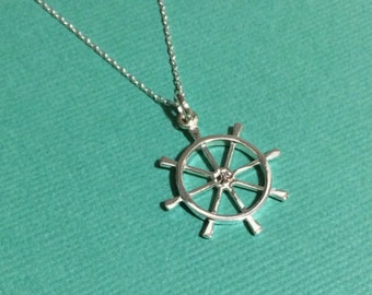 Ahoy! Ship Wheel Pendant - Handcrafted Sterling Silver