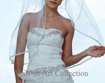 Designer One Tier Embroided Bridal Wedding Veil Fingertip Style VE302 NEW CUSTOM VEIL