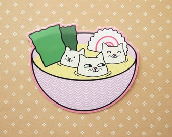 Tofu Cats in Miso Soup Vinyl Sticker natelledrawsstuff