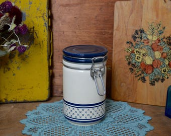 Vintage Ceramic Blue and White Hinge Top Wire Rubber Sealed Nesting Canister Jar Potpourri Press - the Urban Barn Kitchen Decor