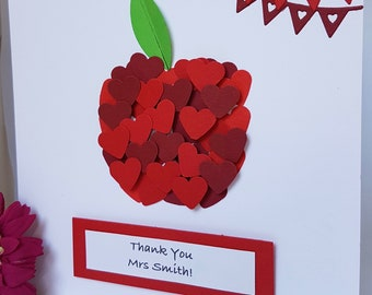 3D Apple for the Teacher Thank You Teacher Childminder Child Carer Staff Appreciation Any Occasion Card Handmade