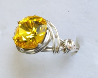 Swarovski elements Crystal rings with tarnish resistant silver plated wire