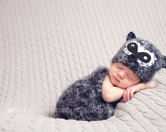 Baby Hat Set, Newborn Hat Set, Newborn Photo Prop, Baby Raccoon hat set, Knit Newborn Hat, Baby Hat, Animal Hat