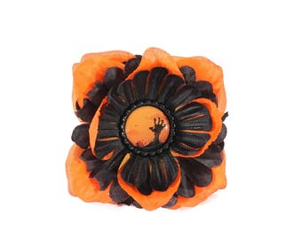 Orange and Black Zombie Hand Pinup Hair Flower Clip