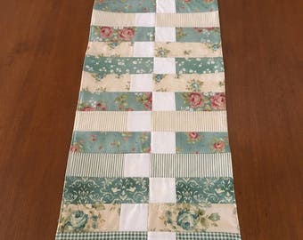 Shabby/Cottage Chic Table Runner Welcome Home Maywood Studio Fabric