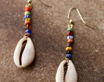 Multicolored cowrie shell drop earrings