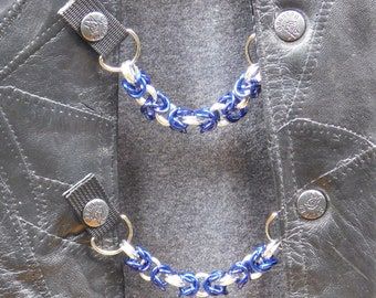 """Chain Mail Vest Extenders - 5/16""""Blue and Silver Aluminium - Set of 4"""
