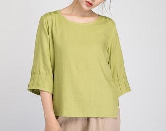 Green linen blouse, linen blouse, summer blouse, plus size top, women linen top, loose linen blouse, natural linen blouse, handmade top 1931