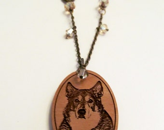 Custom Wooden Pendant Beaded Necklace - Made to Order with your photo and colors