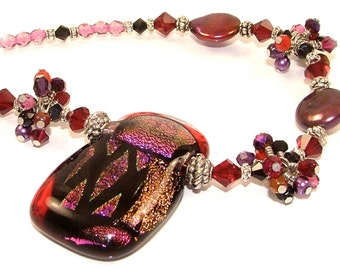 MAJOR MARKDOWN - Dramatic Purple and Red Wire Wrapped Crystal Clusters on a Beaded Dichroic Fused Glass OOAK Necklace