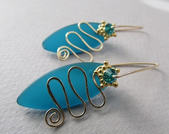 Teal Faux Seaglass Petal Gold Earrings with Blue Zircon Crystal