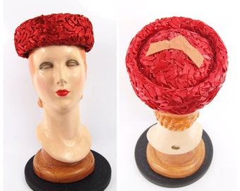 Early 1960s Red Straw Hat - Bright Red Pillbox Hat  - Early 60s hat cellophane straw 50s