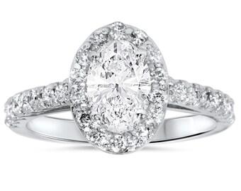 Carat Oval Diamond Halo Engagement Ring 1.50 Carat Oval Diamond Halo Engagement Ring 14K White Gold