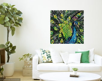 Peacock art, Modern wall art, Peacock wall art, peacock print,  Bird art, Nature art, metal prints,  Johno Prascak, Johnos Art Studio