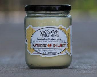 Ätherisches Öl duftende Kerze / / Nachmittag Freude, natürlichem Bienenwachs Kerzen, Zimt, Orange, Vanille, orange Pomander