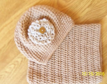 Camel color Snood and hat set