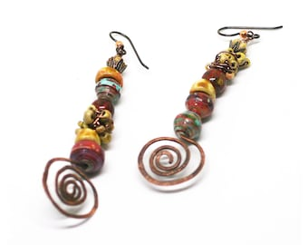 Boho Copper Spiral Earrings, Stacked Bead Earrings, Mismatched Stick Earrings, Artisan Gypsy Earrings, 7th Anniversary Gift,