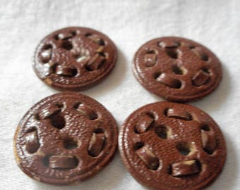 Set of 4 VINTAGE Stitched Leather Sew Thru BUTTONS