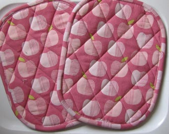 Pink apples potholders - set of 2