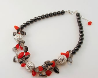 Black and Orange Pearl and Gemstone Necklace