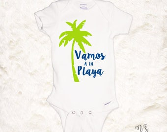 Vamos pa la playa beach palm tree summer onesie toddler shirt lets go to the beach summer baby blue green